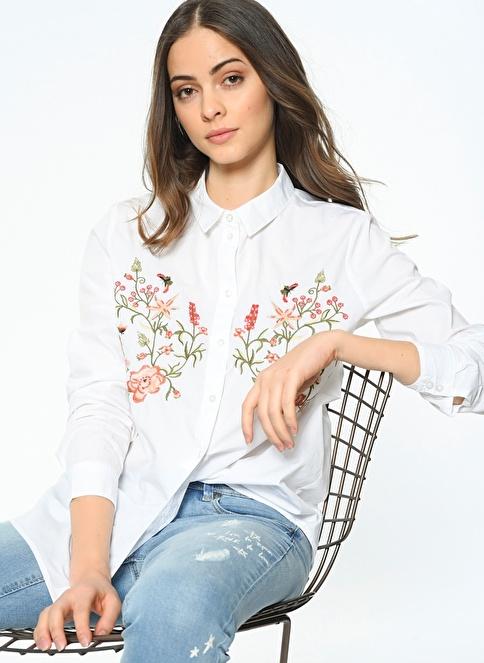 Only Çiçek Desenli Çizgili Gömlek Beyaz